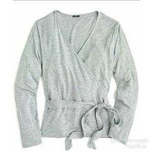 J. Crew wrap sweater ties at waist grey L NWT